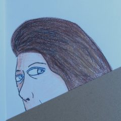 drawing of woman peeking over wall